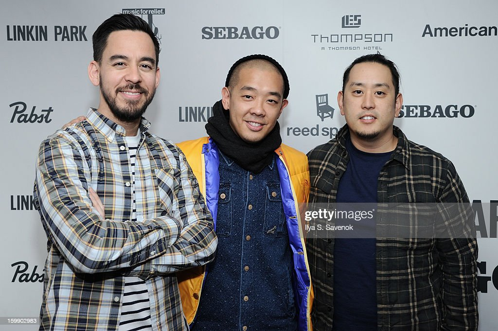 Mike Shinoda, Jack Staple and Joe Hahn attend Sebago and Linkin Park's launch of their collaboration at Reed Space NYC on January 22, 2013 in New York City.