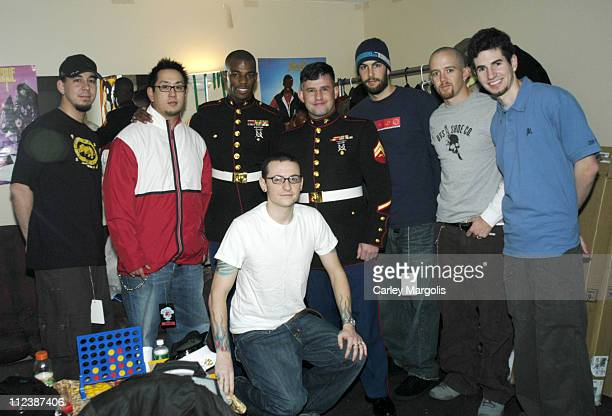 Mike Shinoda Joe Hahn CPL Casey Reefer of the US Marine Corps Chester Bennington CPL Oscar Castaneda of the US Marine Corps Rob Bourdon Phoenix and...