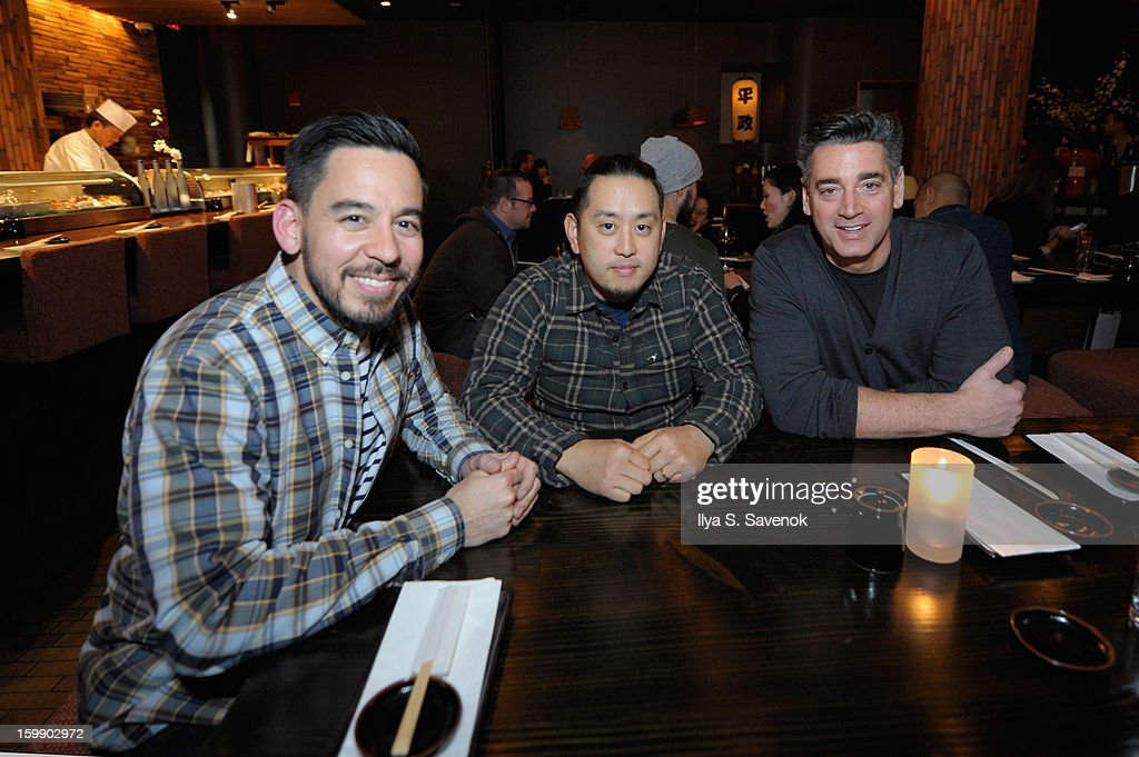 Mike Shinoda, Joe Hahn of Linkin Park and Gary Malamet attend Sebago and Linkin Park's launch of their collaboration at Reed Space NYC on January 22, 2013 in New York City.