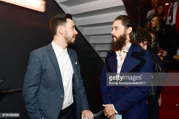 Mike Shinoda of Linkin Park and Jared Leto backstage during the 2017 American Music Awards at Microsoft Theater on November 19 2017 in Los Angeles...