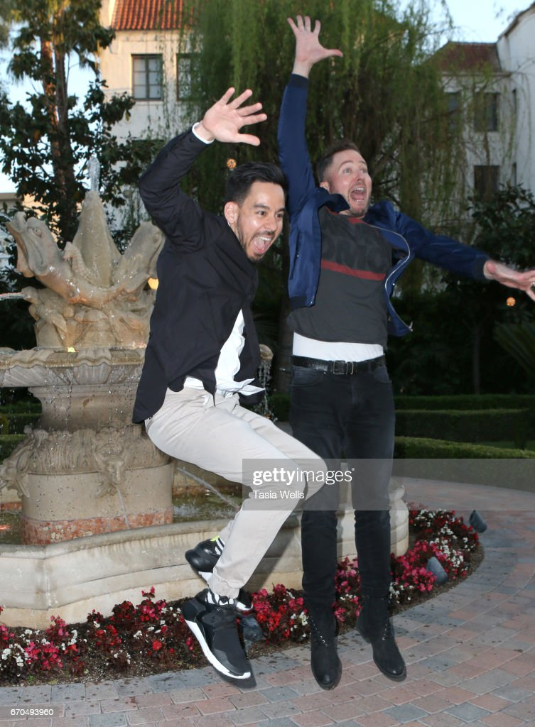 Mike Shinoda of Linkin Park (L) and radio personality Stryker attend Linkin Park's Music for Relief - Charity Poker Tournament at Taglyan Cultural Complex on April 19, 2017 in Hollywood, California.