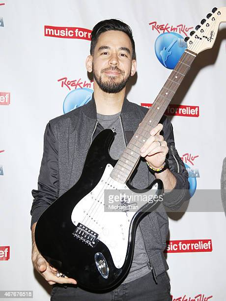 Mike Shinoda of Linkin Park attends the press conference for Rock In Rio Music for Relief partnership announcement held at Warner Bros Records on...