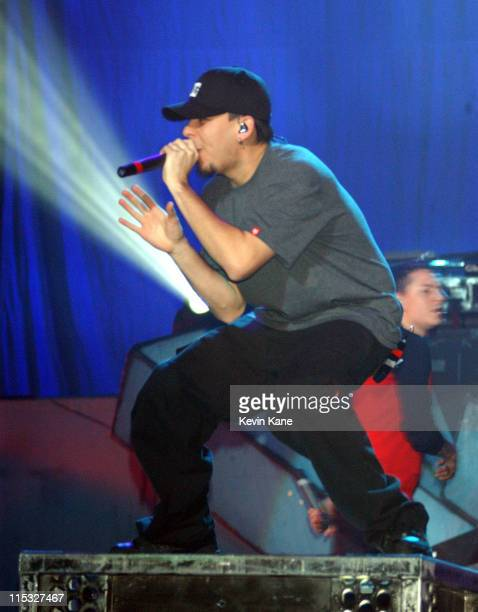 Mike Shinoda of Linkin Park during Meteora World TourFeaturing Linkin Park POD Hoobastank and Story Of The Year at Nassau Coliseum in Uniondale New...