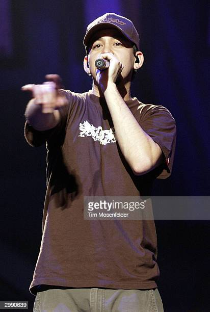 "Mike Shinoda of Linkin Park performing part of the bands ""Meteora Worldwide Tour 2004"" at the HP Pavilion on February 16, 2004 in San Jose,..."