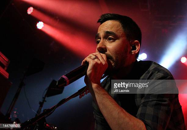 Mike Shinoda of Linkin Park performs at the unveils of the Honda Si coupe and CBR250R motorcycle at House of Blues Sunset Strip on May 18 2012 in...