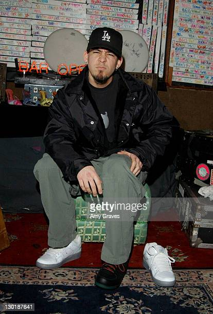 Mike Shinoda of Linkin Park with Reebok shoes during GRAMMY Style Studio Day 4 at Ocean Way Recording Studios in Los Angeles California United States