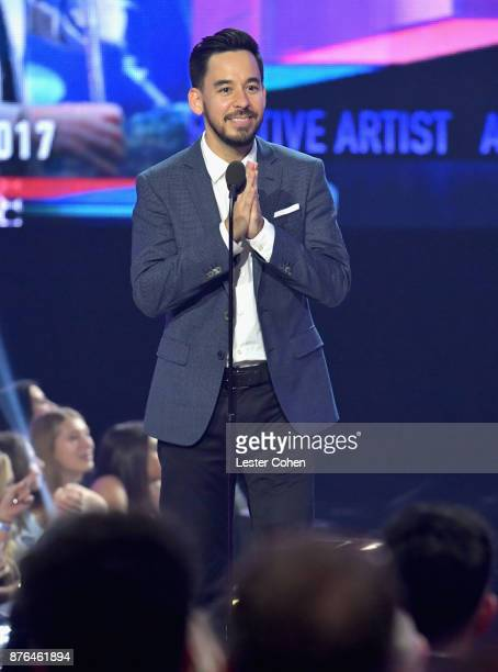 Mike Shinoda of the band Linkin Park speaks onstage during the 2017 American Music Awards at Microsoft Theater on November 19 2017 in Los Angeles...