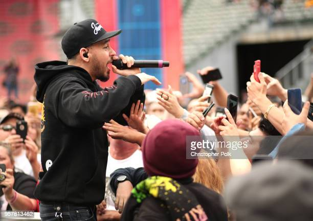 Mike Shinoda performs at KROQ Weenie Roast 2018 at StubHub Center on May 12 2018 in Carson California