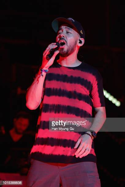 Mike Shinoda performs live during the Incheon Pentaport Rock Festival 2018 on August 11 2018 in Incheon South Korea