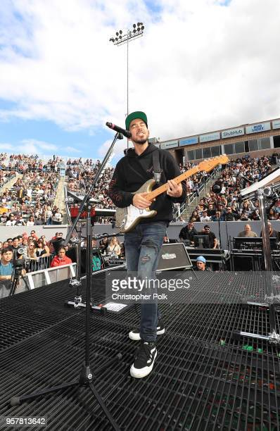 Mike Shinoda performs onstage at KROQ Weenie Roast 2018 at StubHub Center on May 12 2018 in Carson California