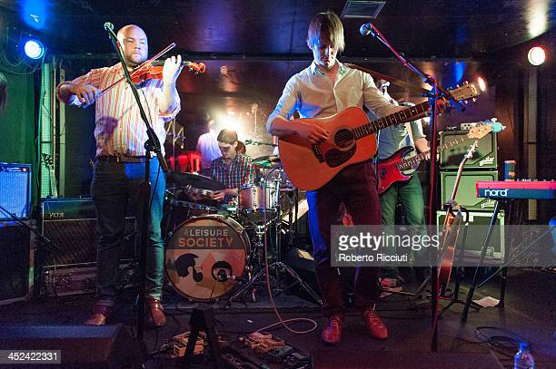 Mike Siddell Sebastian Hankins and Nick Hemming of The Leisure Society perform on stage at Electric Circus on November 28 2013 in Edinburgh United...