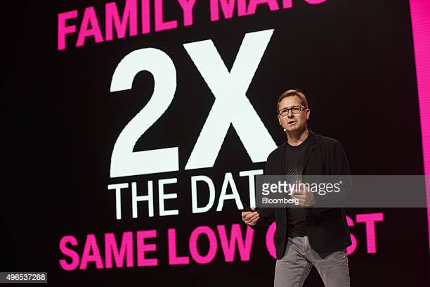 Mike Sievert chief operating officer of TMobile US Inc speaks during the TMobile UnCarrier X event in Los Angeles California US on Tuesday Nov 10...