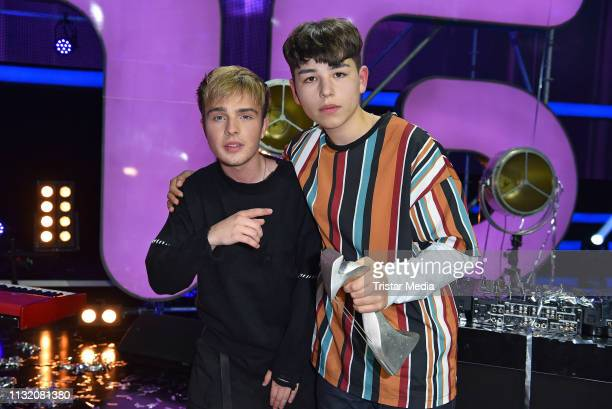 Mike Singer and winner Peer pose during a photocall after the finals of the KIKA / ZDF television competition 'Dein Song 2019' at MMC Studios on...