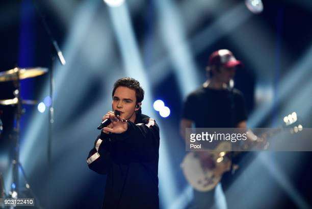 Mike Singer performs onstage during the 'Eurovision Song Contest 2018 Unser Lied fuer Lissabon' show on February 22 2018 in Berlin Germany The winner...