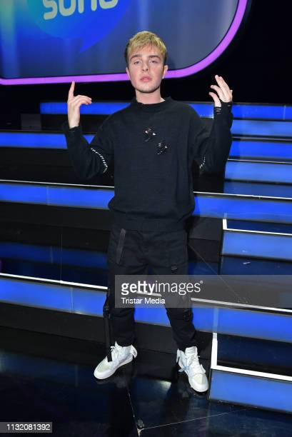 Mike Singer poses during a photocall after the finals of the KIKA / ZDF television competition 'Dein Song 2019' at MMC Studios on March 22 2019 in...