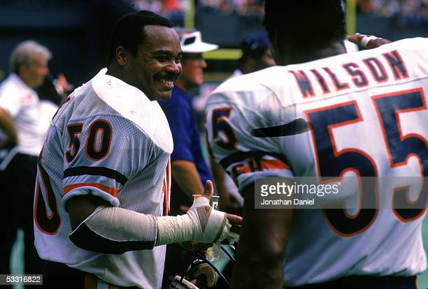 Mike Singletary and Otis Wilson of the Chicago Bears celebrate on the sideline during a game in the 1985 season