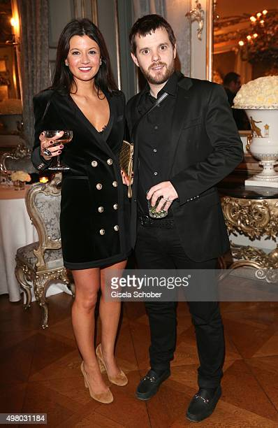 Mike Skinner and his wife Claire Le Marquand pose during the mytheresacom X Gianvito Rossi dinner at St Emmeram Castle on November 19 2015 in...