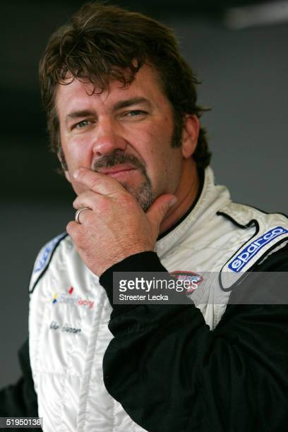 Mike Skinner driver of the stands in the garage during Nascar Nextel Cup testing on January 13 2005 at Daytona International Speedway in Daytona...