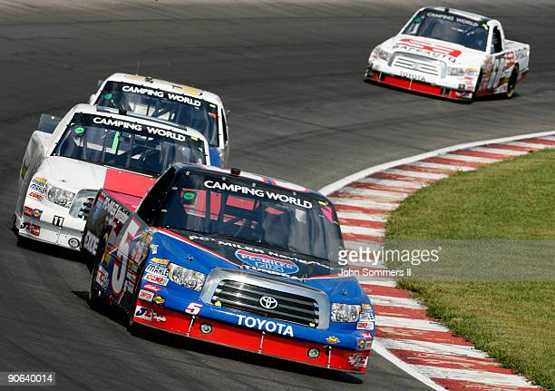 Mike Skinner driving the PC Miler Navigator Toyota on the track during the Camping World truck race Copart 200 at the Gateway International Raceway...
