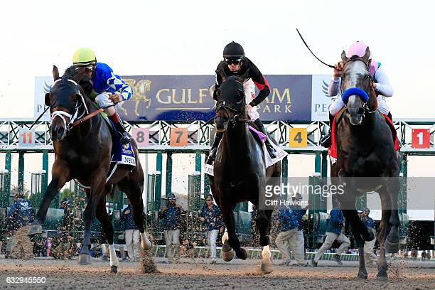Mike Smith atop Arrogate breaks the gate on their way to winning the $12 Million Pegasus World Cup Invitational at Gulfstream Park on January 28 2017...