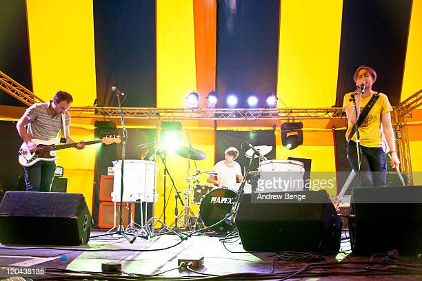 Mike Smith James Rudd and Rob Howe of Polarsets perform on stage during day one of YNot Festival 2011 on August 5 2011 in Matlock United Kingdom