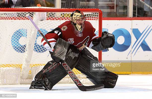 Mike Smith of the Arizona Coyotes gets ready to make a save against the San Jose Sharks at Gila River Arena on November 19 2016 in Glendale Arizona