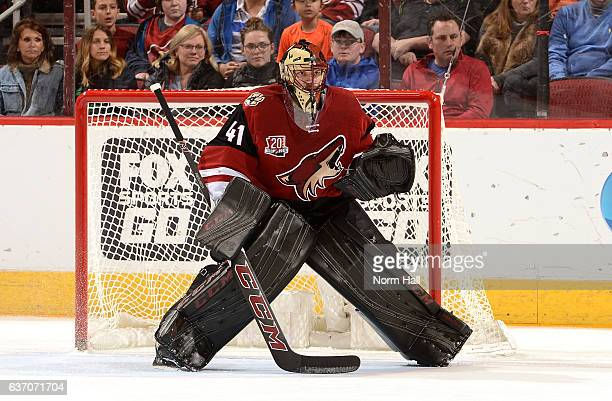 Mike Smith of the Arizona Coyotes gets ready to make a save against the Dallas Stars at Gila River Arena on December 27 2016 in Glendale Arizona