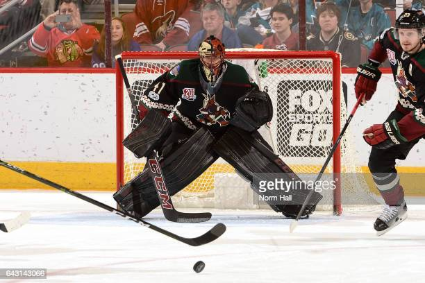 Mike Smith of the Arizona Coyotes gets ready to make a save against the San Jose Sharks at Gila River Arena on February 18 2017 in Glendale Arizona