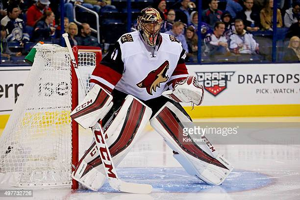 Mike Smith of the Arizona Coyotes loosens up prior to the start of the second period during the game against the Columbus Blue Jackets on November 14...