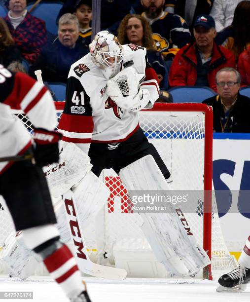 Mike Smith of the Arizona Coyotes makes a glove save during the first period against the Buffalo Sabres at the KeyBank Center on March 2 2017 in...