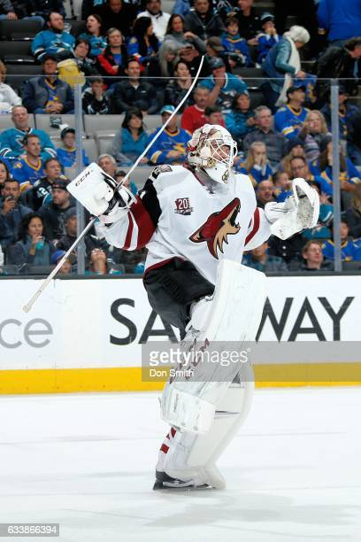 Mike Smith of the Arizona Coyotes reacts after the Coyotes win during a NHL game against the San Jose Sharks at SAP Center at San Jose on February 4...