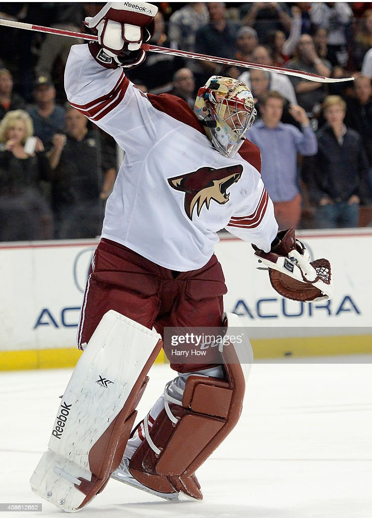Mike Smith #41 of the Arizona Coyotes reacts to his save on Ryan Kesler #17 of the Anaheim Ducks for a 3-2 overtime shootout win at Honda Center on November 7, 2014 in Anaheim, California.