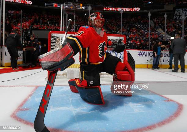 Mike Smith of the Calgary Flames gets focused prior to puck drop against the Pittsburg Penguins at Scotiabank Saddledome on November 2 2017 in...