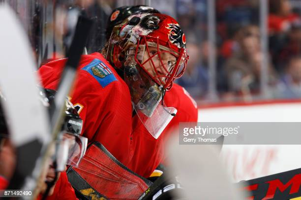 Mike Smith of the Calgary Flames in an NHL game against the Vancouver Canucks at the Scotiabank Saddledome on November 7 2017 in Calgary Alberta...
