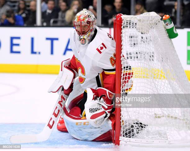 Mike Smith of the Calgary Flames in goal during the second period against the Los Angeles Kings at Staples Center on October 11 2017 in Los Angeles...