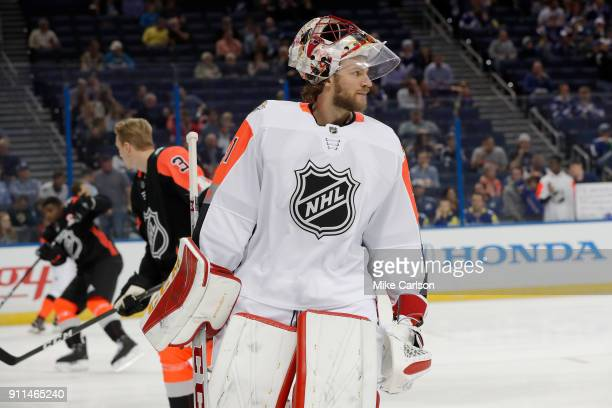 Mike Smith of the Calgary Flames looks on during the 2018 Honda NHL AllStar Game at Amalie Arena on January 28 2018 in Tampa Florida