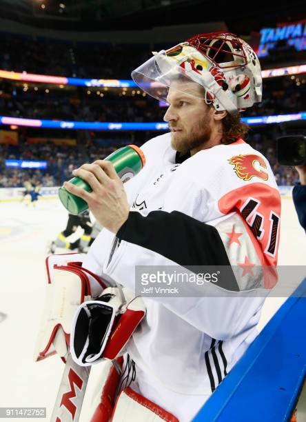 Mike Smith of the Calgary Flames looks on during warmup prior to the 2018 Honda NHL AllStar Game at Amalie Arena on January 28 2018 in Tampa Florida