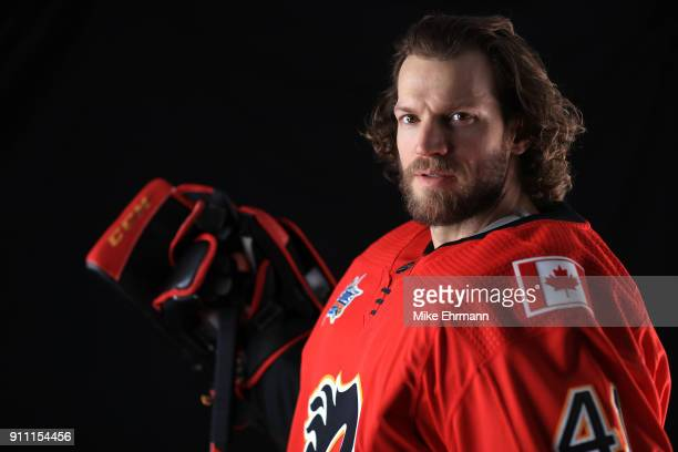 Mike Smith of the Calgary Flames poses for a portrait during the 2018 NHL AllStar at Amalie Arena on January 27 2018 in Tampa Florida