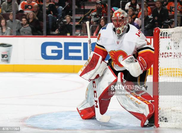 Mike Smith of the Calgary Flames prepares to stop a shot on goal against the Philadelphia Flyers on November 18 2017 at the Wells Fargo Center in...