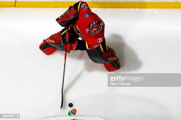 Mike Smith of the Calgary Flames skates against the Nashville Predators during an NHL game on December 16 2017 at the Scotiabank Saddledome in...
