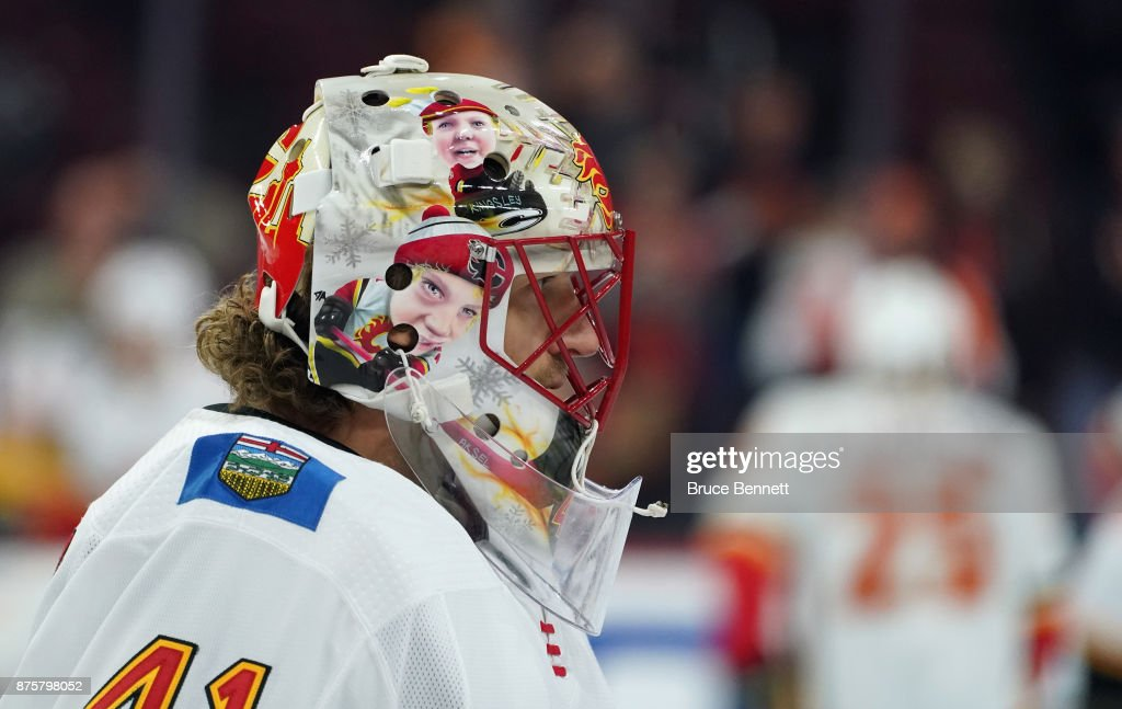 Mike Smith #41 of the Calgary Flames skates in warm-ups prior to the game against the Philadelphia Flyers at the Wells Fargo Center on November 18, 2017 in Philadelphia, Pennsylvania.