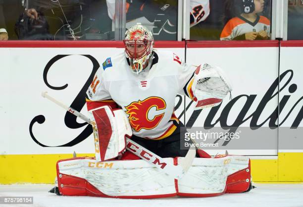 Mike Smith of the Calgary Flames skates in warmups prior to the game against the Philadelphia Flyers at the Wells Fargo Center on November 18 2017 in...
