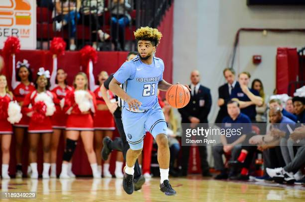 Mike Smith of the Columbia Lions handles the ball on offense against the St. John's Red Storm at Carnesecca Arena on November 20, 2019 in New York...