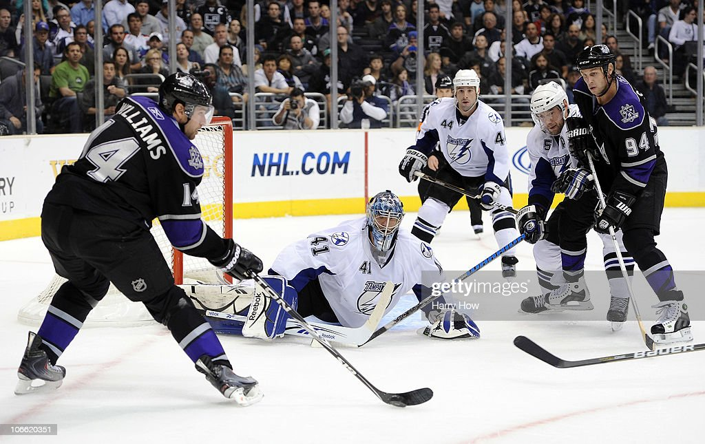 Mike Smith #41 of the Tampa Bay Lightning makes a save on Justin Williams #14 of the Los Angeles Kings during the second period at Staples Center on November 4, 2010 in Los Angeles, California.
