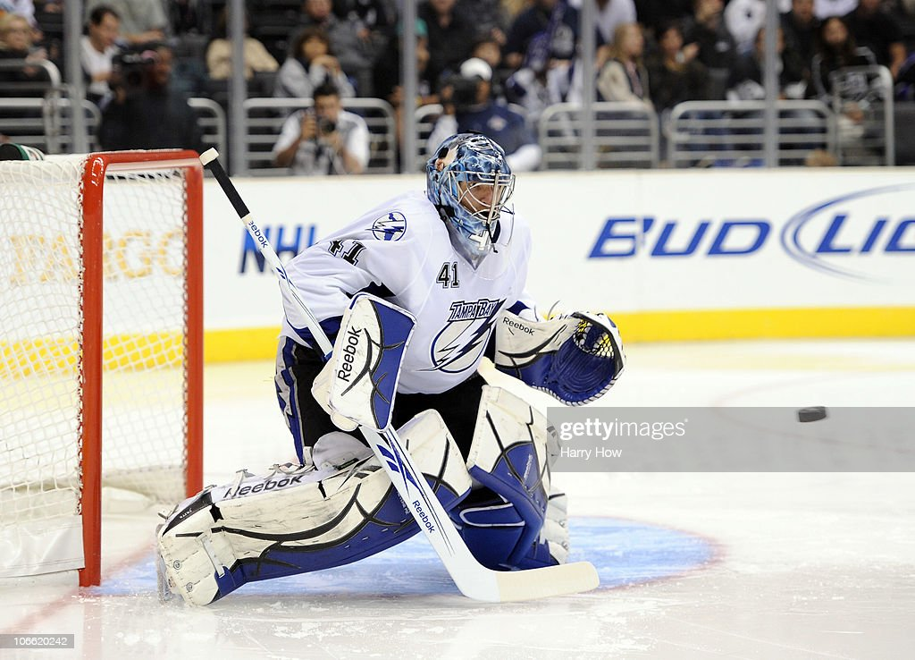 Mike Smith #41 of the Tampa Bay Lightning makes a stop of a shot against the Los Angeles Kings during the second period at Staples Center on November 4, 2010 in Los Angeles, California.