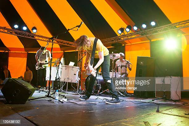 Mike Smith Rob Howe and James Rudd of Polarsets perform on stage during day one of YNot Festival 2011 on August 5 2011 in Matlock United Kingdom
