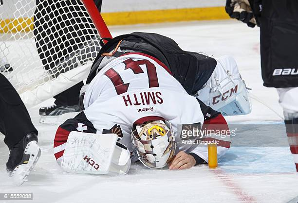 Mike Smith the Arizona Coyotes stays on the ice in pain after being injured during a game against the Ottawa Senators at Canadian Tire Centre on...