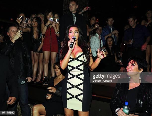 Mike Snedeger Kim Kardashian and Kris Kardashian attend Kim Kardashian's fragrance launch at Tao Nightclub at the Venetian Hotel and Casino Resort on...