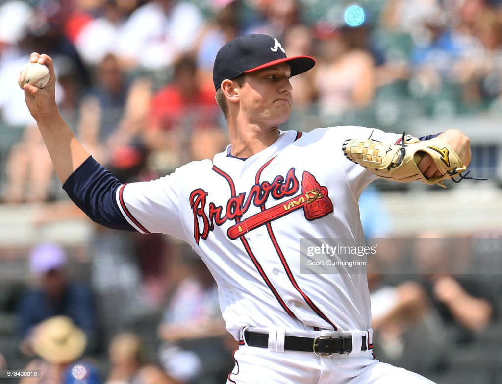 Mike Soroka #40 of the Atlanta Braves throws a first inning pitch against the New York Mets at SunTrust Field on June 13, 2018 in Atlanta, Georgia.