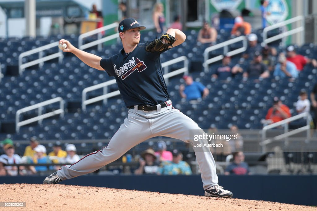 Mike Soroka #79 of the Atlanta Braves throws the ball against the Houston Astros during a spring training game at The Ballpark of the Palm Beaches on February 24, 2018 in West Palm Beach, Florida.